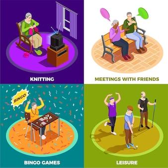 Anziani durante la riunione di svago con i giochi di bingo degli amici e tricottando concetto isometrico isolato