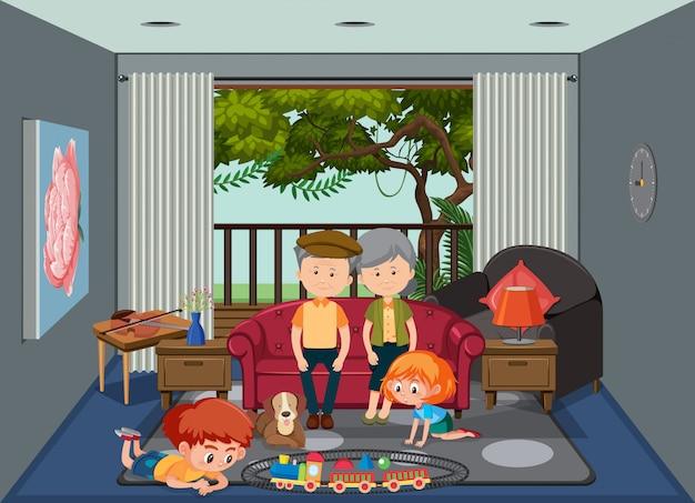 Anziani e bambini a casa