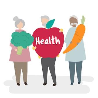 Anziani illustrati che si concentrano sulla salute