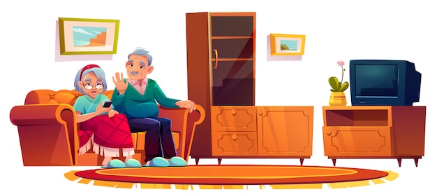 Anziani nella sala della casa di cura. donna anziana che rivolge al telefono cellulare
