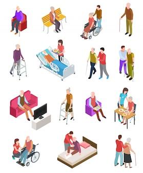 Anziani . persone senior, infermiere aiutante. terapia domiciliare medica degli anziani. persone su sedia a rotelle. set di gerontologia