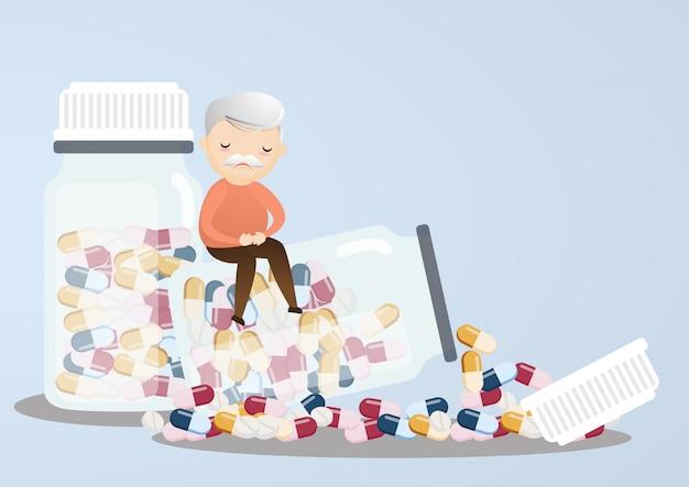 Anziano con bottiglie di pillola.