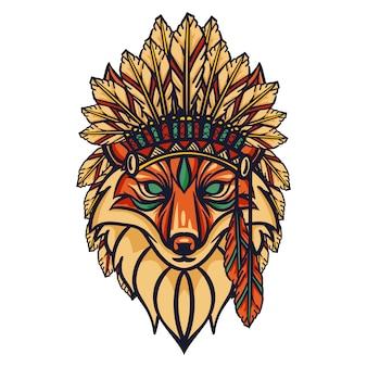 Apache della testa di volpe isolato su bianco