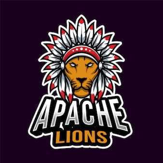Apache head esport logo template