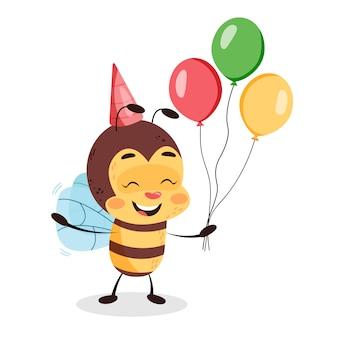 Ape di compleanno con palloncini su sfondo bianco isolato. ape felice che celebra l'illustrazione di progettazione di carattere dei bambini di compleanno.