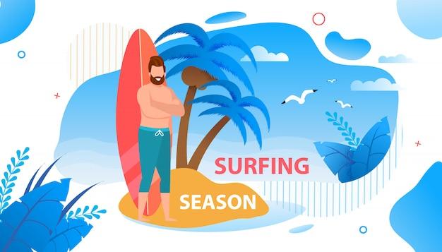 Apertura di surfing season su tropic island banner.