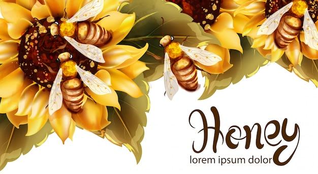 Api che fanno il miele dall'acquerello di girasole