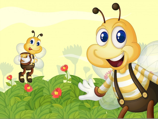 Api da miele nel giardino