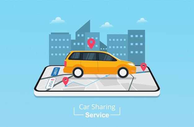 App del servizio di car sharing su telefono cellulare con posizione di navigazione gps.
