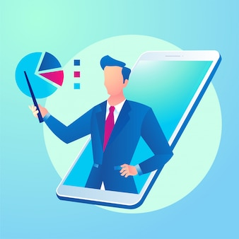 App di consulenza aziendale online con smartphone