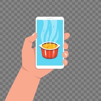 App di cucina sullo schermo dello smartphone. cucinare la zuppa in padella. pentola sul fornello a vapore. illustrazione.