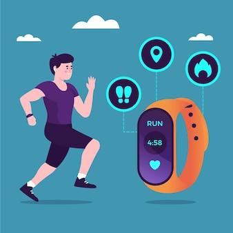 App di design piatto in fitness tracker e uomo che corre