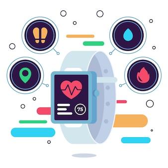 App di design piatto nel fitness tracker