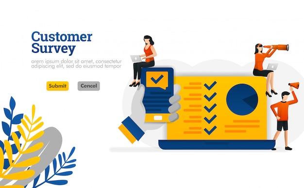 App di indagine di cliente con le mani che tengono un concetto dell'illustrazione dello smartphone