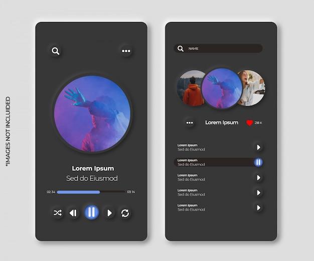 App di musica con interfaccia neumorfa per smartphone