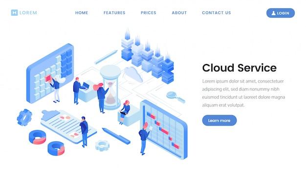 App di servizio cloud, modello isometrico sito web
