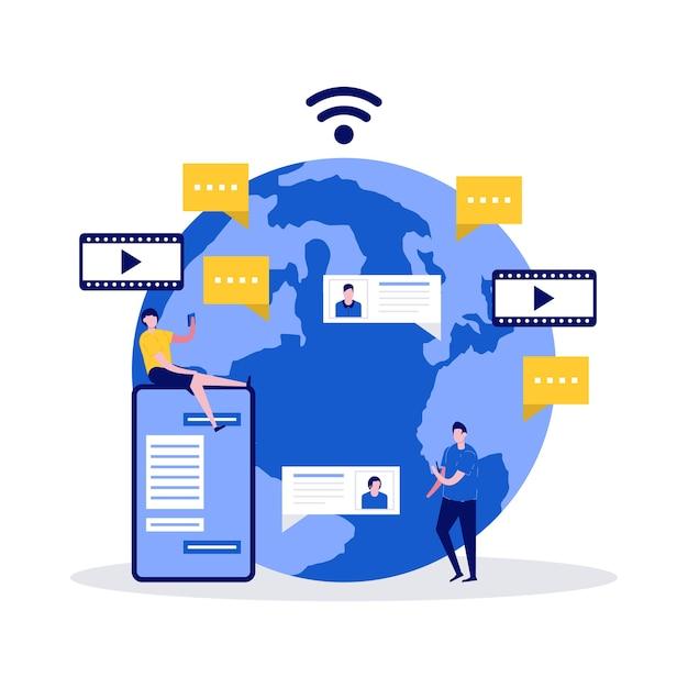 App di social media, servizi, comunicazioni globali e concetto di chat dal vivo con i personaggi.
