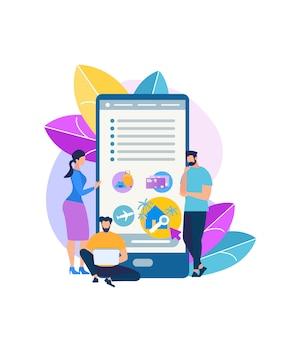 App mobile per icona di vettore piatto persone in viaggio