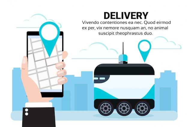 App mobile robot auto drive consegna veloce merci navigazione mappa app in city car robot trasportare concetto
