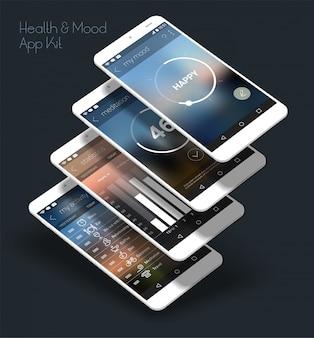 App mobile ui reattiva design piatto con mockup 3d
