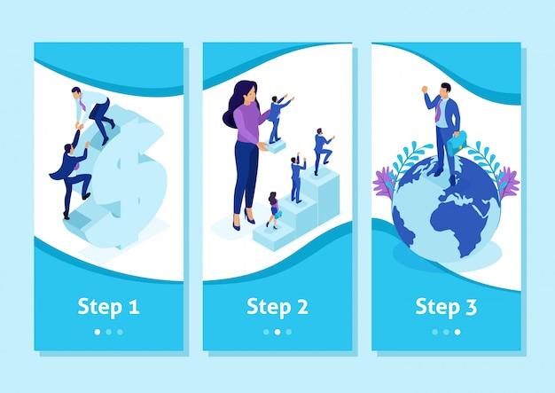 App modello isometrica big boss sceglie le persone piccole e le posiziona in tutto il mondo, app per smartphone. facile da modificare e personalizzare