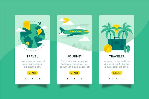 App onboarding per viaggiare concetto