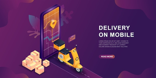 App online di servizio di consegna mobile, concetto isometrico. concetto di servizio di consegna online. schermo dello smartphone con segno mappa e gps. servizio di shopping online su scooter o moto.