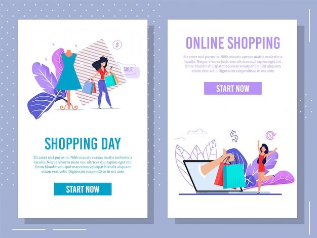 App per dispositivi mobili per lo shopping online pagina web set piatto