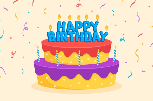 Appartamento buon compleanno con sfondo torta e coriandoli