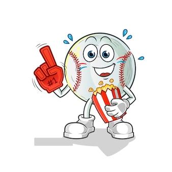 Appassionato di baseball con illustrazione di popcorn
