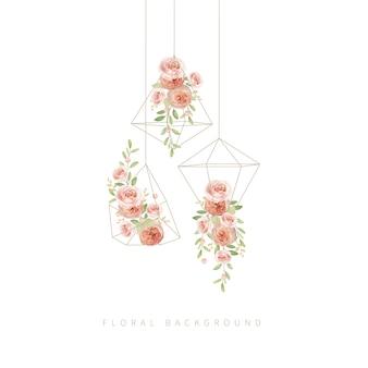 Appendere le rose da giardino floreale nel terrario