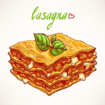 Appetitoso pezzo di lasagna con carne di manzo e foglie di basilico