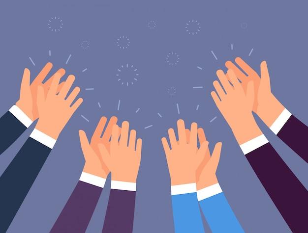 Applausi. applauso di mani di persone. mani incoraggianti, ovazione e concetto di vettore di successo aziendale