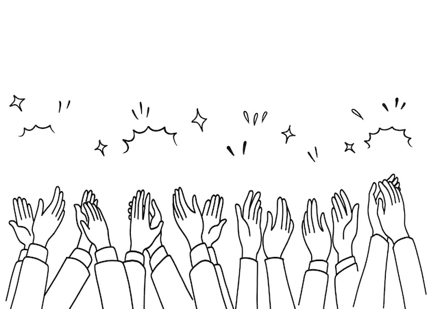 Applauso disegnare a mano, mani umane che applaudono ovazione.