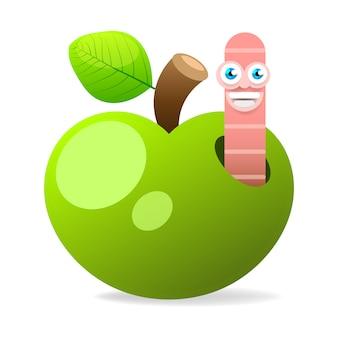Apple con il verme sull'illustrazione bianca di vettore del fondo