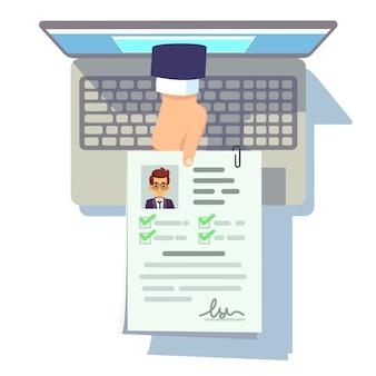 Applicazione cv online. riprendi la presentazione sullo schermo del laptop, il reclutamento e l'illustrazione di vettore della gestione della carriera