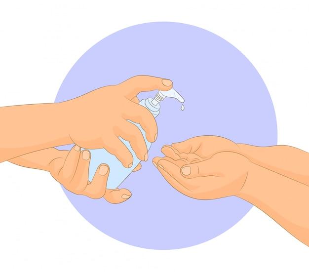 Applicazione del gel detergente sulla mano del bambino