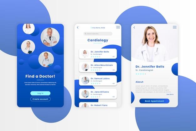 Applicazione di prenotazione medica con foto