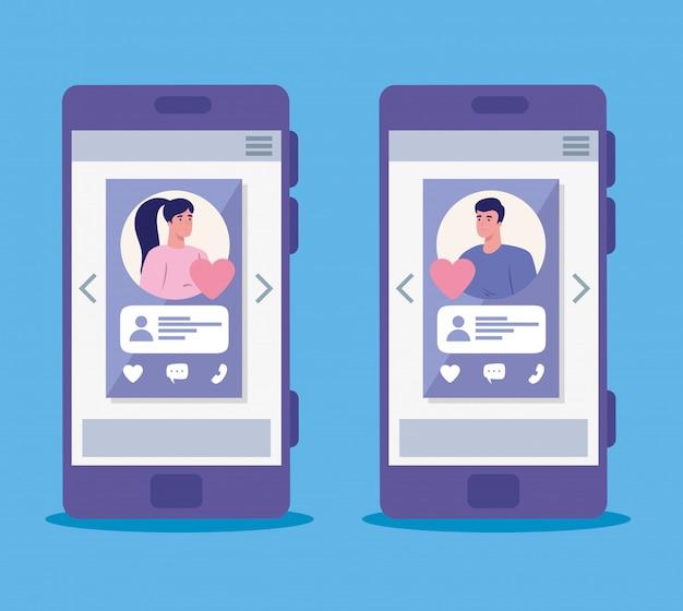 Applicazione di servizi di incontri online, smartphone con profili uomo e donna, persone moderne in cerca di coppia, social media, concetto di comunicazione relazione virtuale