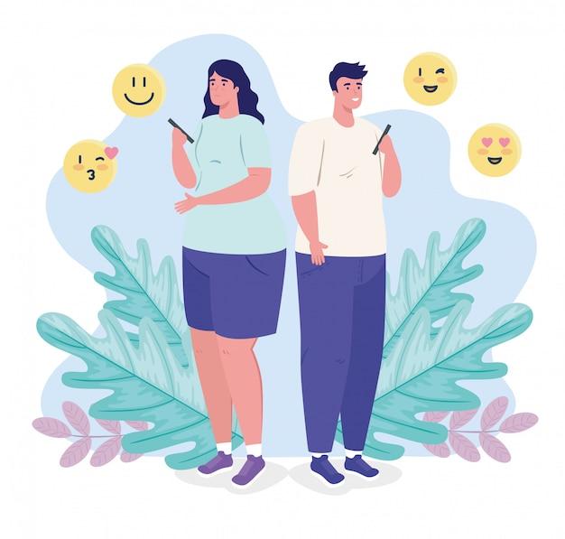 Applicazione di servizio di appuntamenti online, donna ed uomo che per mezzo dello smartphone, gente moderna che cerca coppia, social media, concetto di comunicazione di relazione virtuale