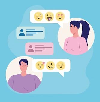 Applicazione di servizio di incontri online, chat di donna e uomo con emoji, persone moderne in cerca di coppia, social media, concetto di comunicazione relazione virtuale