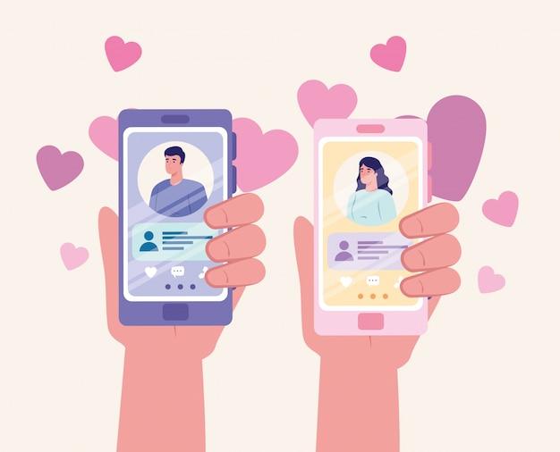 Applicazione di servizio di incontri online, mani che tengono smartphone con profili uomo e donna, persone moderne in cerca di coppia, social media, concetto di comunicazione relazione virtuale