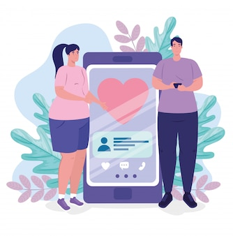 Applicazione di servizio di incontri online, smartphone con cuore e coppia, gente moderna che cerca coppia, social media, concetto di comunicazione di relazione virtuale