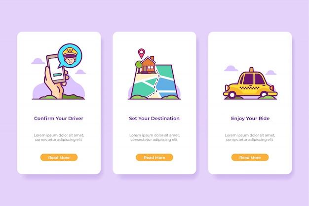 Applicazione di taxi online dell'illustrazione di bordo