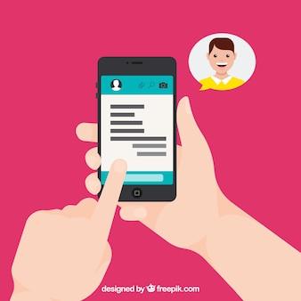Applicazione messenger in stile piatto