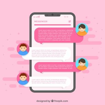 Applicazione messenger per chattare in stile piatto