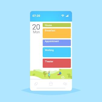 Applicazione mobile online dello schermo dello smartphone con piani di azioni differenti di giorno lavorativo circa il lavoro di appuntamento della prima colazione della casa e concetto di programma del teatro