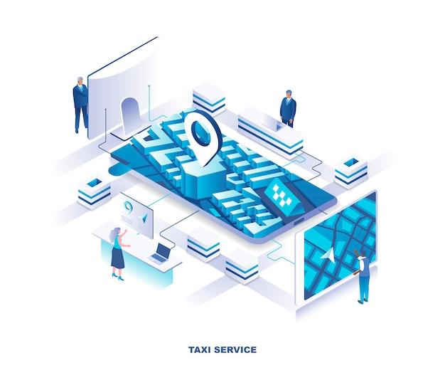 Applicazione mobile per il concetto isometrico di servizio di prenotazione taxi o taxi