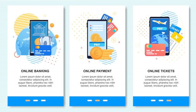 Applicazione mobile per pagamento online, servizi bancari,