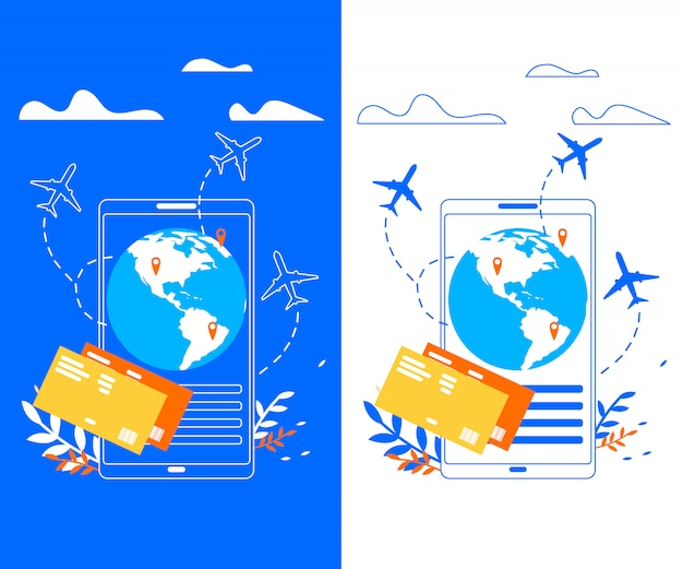 Applicazione mobile per traveler flat vector banner